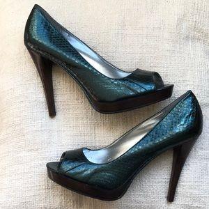 Calvin Klein Daliah dark green heels size 8