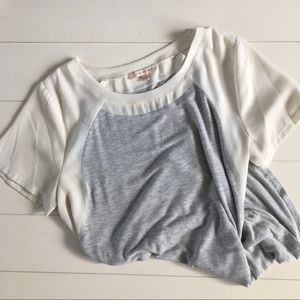 Gray blouse tee with cream sheer sleeves