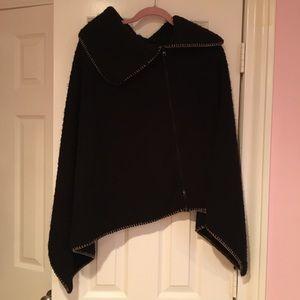 Zip Front Cape Coat with Collar