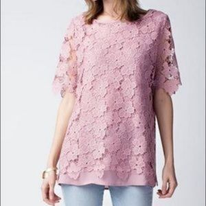 Jodifl Black Lace Flower Short Sleeve Blouse