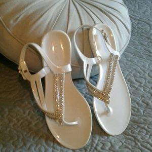 New White Sequence Sandals