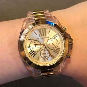 Michael Kors Clear Acetate & Gold Bradshaw Watch
