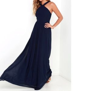 Lulu's Navy Blue Maxi Dress / Never Worn / Large