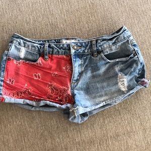 Red Bandana Denim Cut-Offs Jean Shorts