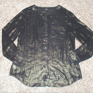 Ann Taylor Gold Shimmer Black Blouse