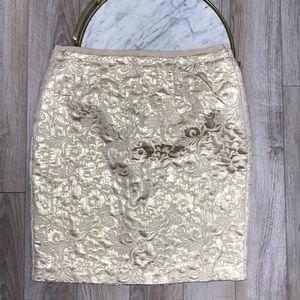 NWT LOFT Gold Floral Shimmer Pencil Skirt