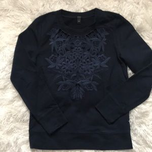 J. Crew Navy embroidered sweatshirt