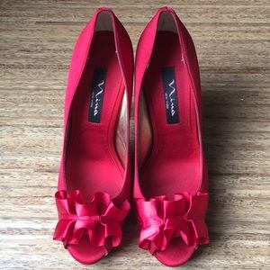 Nina New York Satin Red Fencel Peep Toe Shoe