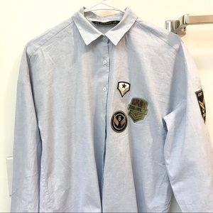 Zara button up shirt with patches