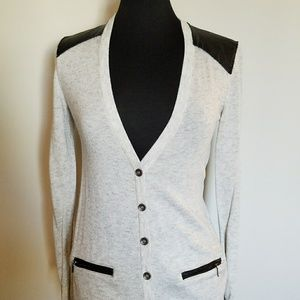 Heather Grey Cardigan with Faux Leather Accents