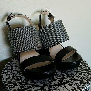 TORRID Black And Silver Wedges