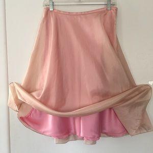 NWT Ralph Lauren Shell Pink Layered Silk Skirt