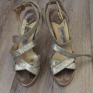 Jimmy Choo heels stilettos sandals silver gold