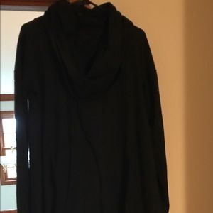 Black cowl neck long sleeved cover up.