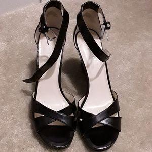 Nine West Black Leather Wedge Sandals