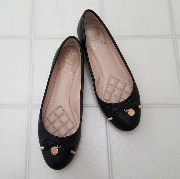 Vince Camuto Black Gold Coin Flats