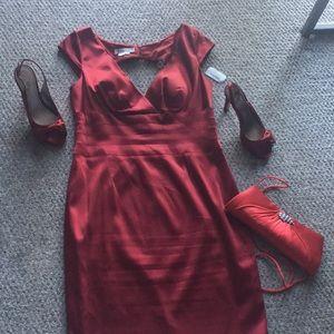 Red Satin Dress - Kay Unger - Size 14