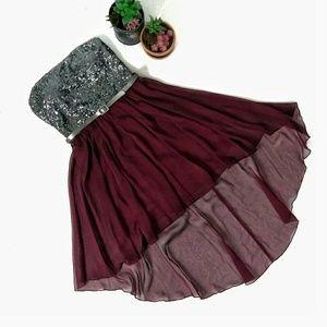 NWOT As U Wish HighLow Chiffon Sequin Party Dress