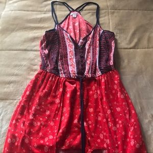 XHILARATION :| Tranquil Romper with Skirt.RED.XS.