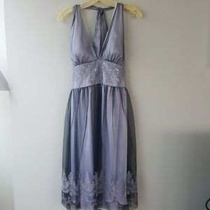 Silver with black overlay and bead trim dress