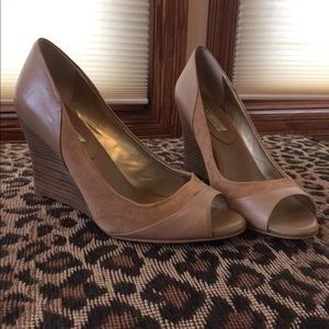 Banana Republic suede and leather wedge heels