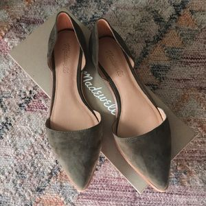 Madewell Suede D'Orsay Flats in Kale