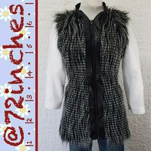 Forever 21 Two-Tone Faux Fur Long Vest