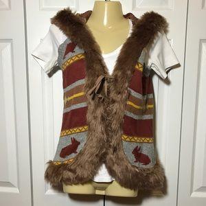 F21 Fair Isle Rabbit Print Faux-Fur Hooded Vest!!