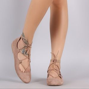 Suede Taupe Ballet Lace Up Flats
