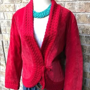 Coldwater Creek Red Suede Jacket NEW Petite XL