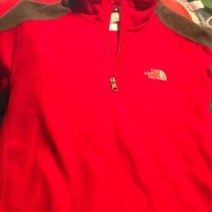 Red and gray North Face