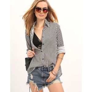 Tops - Vertical striped cotton blouse