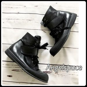 Prada lace up booties with Velcro straps