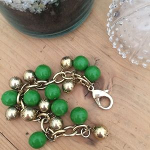 Kate Spade New York gold and green bauble bracelet