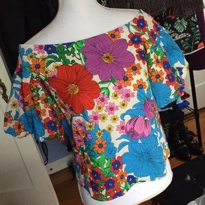 H&M off shoulder floral spring puff sleeve top