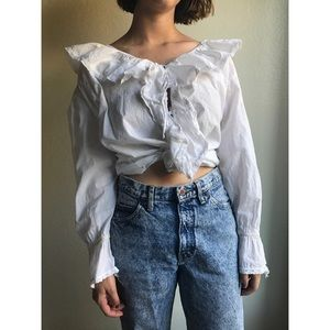 [vintage] cotton ruffle blouse