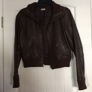 French brown leather jacket