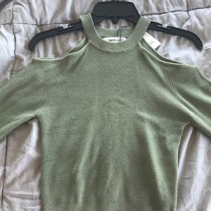 Green cut out sweater