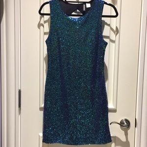 Blue green sequin dress