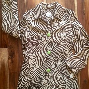 3 Sisters Lined Printed Womens Coat NWT XL