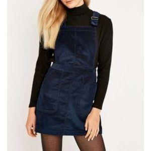 Dark blue corduroy overall dress
