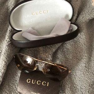 Gucci gold brown women's sunglasses