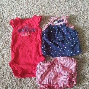 Carters Newborn Red white and blue 3 pcs set