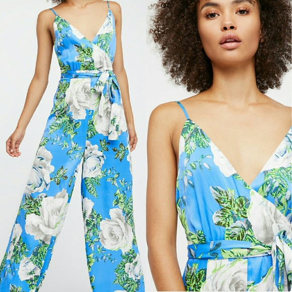 abcf7c8dbfeb New free people cabbage rose romper periwinkle 4 S