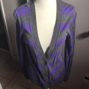 Purple/dark gray cardigan
