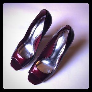 BCBG Red peep Toe Heels
