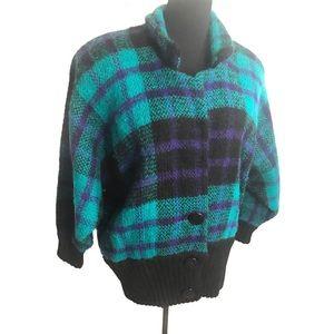 Vintage 80's mohair blend sweater jacket