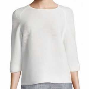 Anne Klein Ribbed Optic Sheer Crew Neck Top