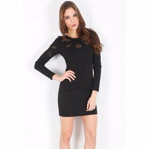 NEW Love out of Lust Cutout Mesh Long Sleeve Dress