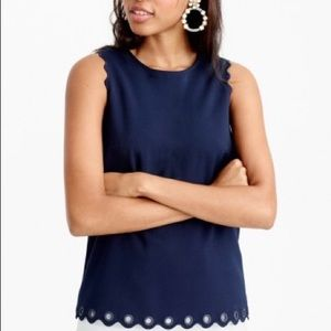Brand new J. Crew scallop tank top with grommets